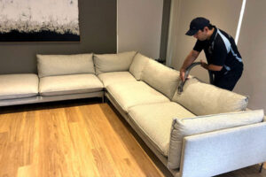 cleaning the sofa with steam